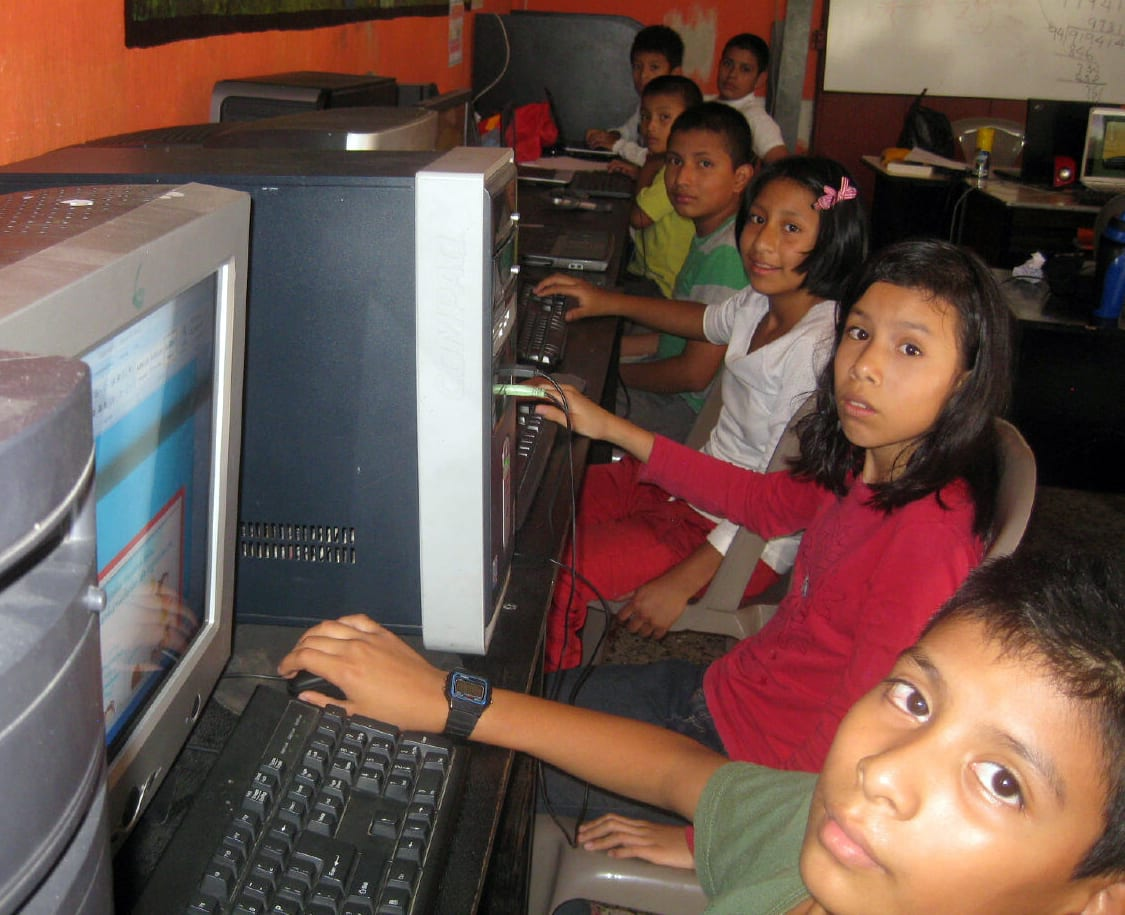 children learning computer skills