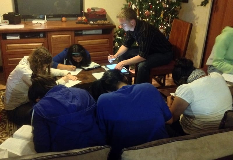 Bible study with girls from the orphanage Fundaninos