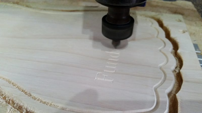 Making cutting boards on our CNC Shopbot router in our workshop at the orphanage Fundaninos